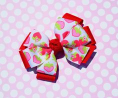 Red Strawberries Layered Hair Bow by prettymuchadorable on Etsy, $4.25