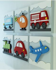 Set of 6 Transportation Wood Kids Wall Decor, Transportation for Nursery and Kids Rooms, Car Train Helicopter Firetruck Bus Plane : Juego de 3 niños madera transporte pared decoración por EleosStudio Wood Crafts, Diy And Crafts, Crafts For Kids, Blue Bus, Kids Wall Decor, Wood Toys, Wood Wall Art, Boy Room, Colorful Backgrounds