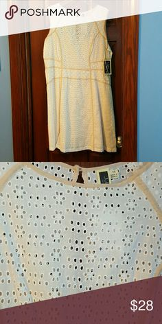 Julian Taylor white eyelet dress BNWT white eyelet dress, with cream color built in slip, gorgeous Julian Taylor  Dresses Midi