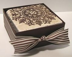 stamped tile coasters - may have to borrow this stamp :)