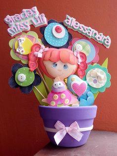 Hermosa niña Fiesta Decorations, Baby Shower Decorations, Handmade Crafts, Diy And Crafts, Arts And Crafts, Foam Crafts, Paper Crafts, Teachers Day Gifts, Flower Pens