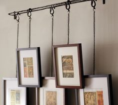 Love the idea of hanging pictures this way! You can use a curtain rod & shower curtain hooks.
