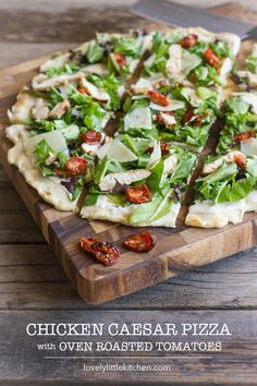 Chicken Caesar Pizza with Oven Roasted Tomatoes // Healthy and light, but packs a punch when it comes to taste! via Lovely Little Kitchen
