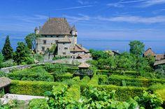 Yvoire – Castle and garden - Savoie Mont Blanc / Lansard Yvoire Evian Les Bains, Yvoire, Moustiers Sainte Marie, France Photography, Ville France, Beaux Villages, French Alps, Belle Villa, Lake Geneva