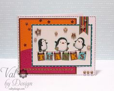 Copic card using the Mama Elephant - Arctic Penguins stamp set and the Avocado Arts - BEE Thankful stamp set. Made by Valerie