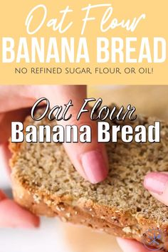Oat flour banana bread is a hearty, delicious healthy banana bread made with just a few simple ingredients! No refined flour (oat flour only), butter, or dairy! Oat Flour Recipes, Healthy Bread Recipes, Oats Recipes, Banana Bread Recipes, Healthy Baking, Healthy Desserts, Oat Bread Recipe, Healthy Breads, Vegetarian Breakfast Recipes