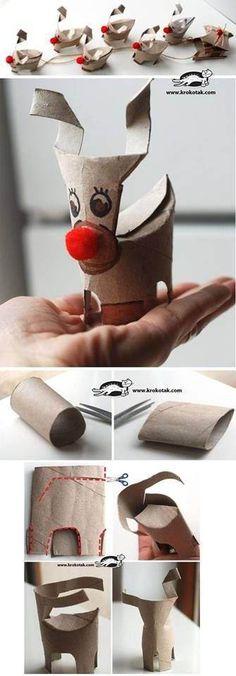 Renos con rollos de papel higiénico Más