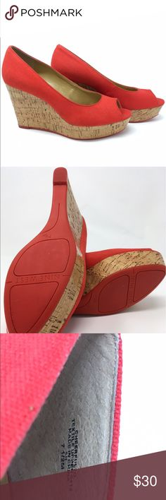 Nine West Wedges Nine West 7 1/2 Red Wedges. Only worn once and no signs of scuffs. The shoes are 4 inches high. Nine West Shoes Wedges