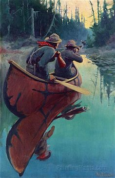 Hunters in a Canoe by Philip Goodwin