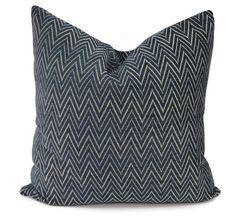 Navy & Off White Chevron Chenille Throw Pillow by ThePillowSpot