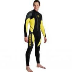 POSEIDON TRAVELER WETSUIT 3mm  A tough but flexible full-body wetsuit, designed for warm water diving and watersports.   Made from 3 mm neoprene, with zips in the legs and ultrastretch neoprene at the body joints for comfort and movement.   The brushed superstretch lining provides extra warmth, and helps the suit glide easily on and off.