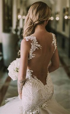 Take a look at the best backless wedding dresses in the pictures below and choose your own! Beautiful wedding dress, not sure who made it, want to keep looking and update post when I find it. Thanks MG. Image source Source by sofiaheckert Dresses Elegant, Sexy Wedding Dresses, Wedding Attire, Women's Dresses, Bridal Dresses, Backless Wedding Dresses, Detailed Back Wedding Dress, Tattoo Wedding Dress, Wedding Engagement