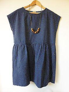 Handmade-Cotton-Navy-Polka-Dot-Tunic-Dress-Relaxed-Fit-M