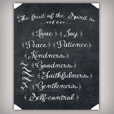 Fruit of the Spirit Love Joy Peace Bible Verse by BuhbayQuotes Chalkboard Bible Verses, Chalkboard Fonts, Chalkboard Ideas, Bible Quotes About Peace, Peace Bible Verse, Fruit Quotes, Fruit Juice Recipes, Love Joy Peace, Fruit Packaging