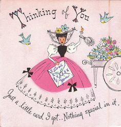 Thinking of You- Just a Little Card I Got- 1950s Vintage Hallmark Card- Used