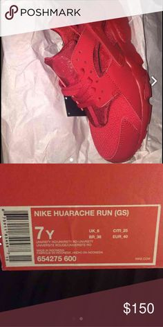 Nwt Triple Red Huarache Nwt and box triple red Huarache. Size7Y. Fits tight on the ankle. Nike Shoes Athletic Shoes