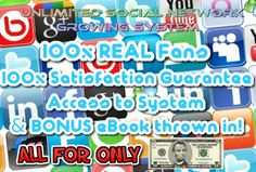System to teach you how to add UNLIMITED likes etc for Facebook, Twitter, Youtube and More for $5, on fiverr.com