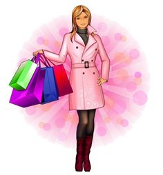 Glam Girl, Girly Girl, Pop Art Girl, Shop Till You Drop, Woman Illustration, Shopping Day, Pictures To Draw, Cartoon Images, Store Design