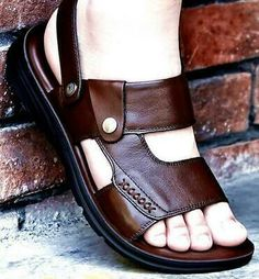 New Mens Fashion High Quality Sandals Casual Beach Shoes Slippers Sandals Universal Mens Outdoor Business Sandals Shoes Flats Sandals, Slipper Sandals, Men Sandals, Flat Sandals, Sock Shoes, Slip On Shoes, Flat Shoes, Leather Flats, Leather Men