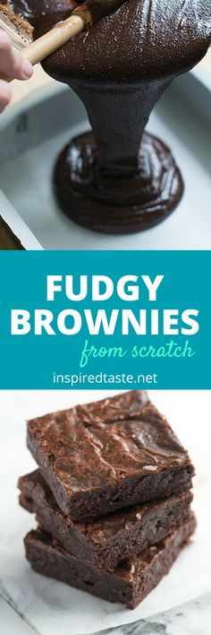 Rich, chocolate brownies with dense, fudgy middles and crinkly tops. See the full recipe on inspiredtaste.net