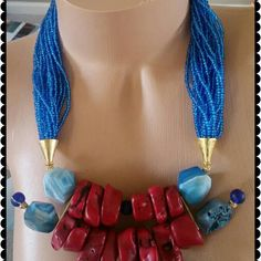 'Something red and blue'...#handmade #handmadejewelry #handmadeaccessories #handmadenecklace #neckcandy #necklace #neckgame #beadednecklace #statementnecklace #chicnecklace #jewelry #beadedaccessories #redandblue #bold #boldnecklace #coral #agate #unique #blueagate #fashion #etsy #style #ladiesfashion