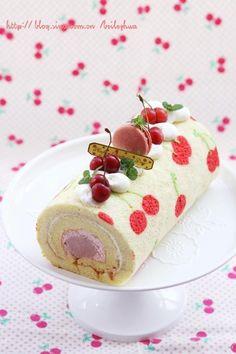 Cherry Cake Roll Recipe Cake Roll Recipes, Snack Recipes, Dessert Recipes, Desserts, Cute Cakes, Yummy Cakes, Swiss Roll Cakes, Swiss Cake, Cake Cookies