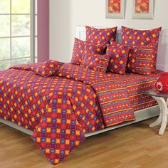 Swayam Contemporary Pink And Yellow Printed Bed Set Luxury Furniture, Cool Furniture, Linen Bedding, Bedding Sets, Cheap Bed Linen, Yellow Print, Bed Sheets, Comforters, Contemporary