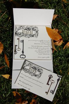 Vintage Key Wedding Invitations