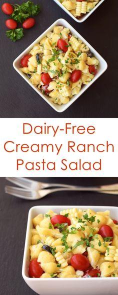 Creamy Dairy Free Ranch Pasta Salad Recipe (optionally vegan, soy-free & gluten-free). ad #LoveMySilk @LoveMySilk