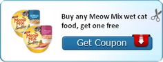 Cat lovers can save big with a printable coupon for Buy One Get One Free Meow Mix.