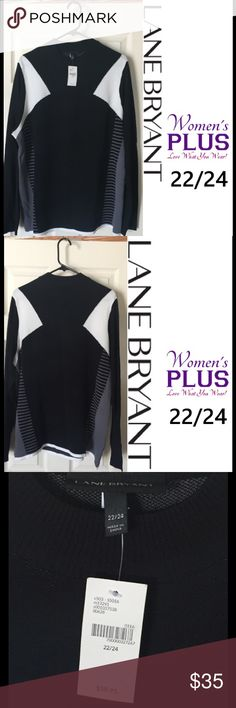 "NWT Black Colorblock Sweater PLUS 22/24 RET. $60 NWT. Comfortable and striking, this Lane Bryant PLUS size sweater is a lighter weight woven colorblock. Primary color is black with white blocks at top, and grey striping down each side.  Sleeves are a slightly lighter weight weave, great for those of us who get warm easily!  65% Rayon 35% Nylon. Tag says Women's PLUS size 22/24. Approx. measurements:  Length – 28"", Width (underarm to underarm) – 24.5"", Sleeve (underarm to cuff) 19"" Lane…"