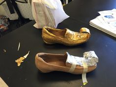 Prince Ali shoes? No problem. I made these with an old pair of my shoes (they fit Aladdin with a little modification). Used tin foil, masking tape and gold Duck Tape! Look amazing on stage.