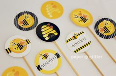 Free Printable, Party Printable, Kawaii, Paper Crafts, Kids Crafts, Stationery, Printable: NEW to the Shop: Printable Bee Party Kit