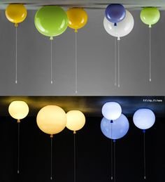 Glass Balloon lights. These Memory Lights, exclusive to Brokis, are turned on and off by a switch at the bottom of the string. - if it's hip, it's here
