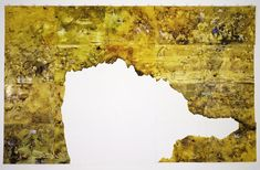 Khorramian begins each work by making a painting onto a sheet of glass. She then transfers the image onto paper by pressing the sheets to the glass while the paint is still wet. The resulting 'monoprint' – or single print – is an event, an original irreproducible image, initially made without any direct contact from the artist's hand. In Eden – 1st Generation, Khorramian uses this process to create a large scalework reminiscent of an aerial-view map.