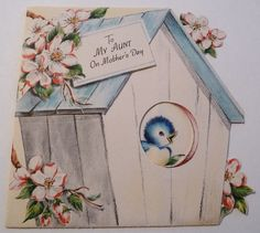 https://flic.kr/p/bVpHhh | Vintage Mother's Day Card-Bluebird House | Part of my vintage greeting card collection.