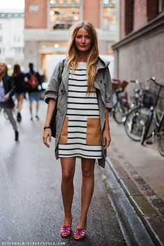 Striped dress with leather patch pockets.