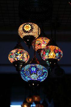 Multicolour Turkish Mosaic Hanging Lamp Light Hand Craft 4 Medium 1 Large Globe