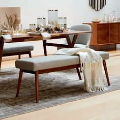 Explore mid-century dining room furniture collection from west elm. Find mid-century tables, chairs, benches and more. Dining Table With Bench, Dining Table Design, Dining Room Chairs, Dining Room Furniture, Dining Tables, Entryway Furniture, Mid Century Dining Table, 60s Furniture, Esstisch Design