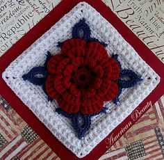 American Beauty Crochet Square