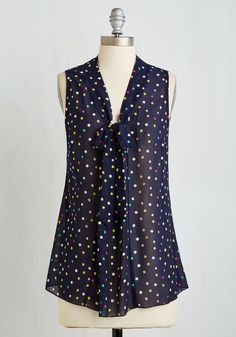Work Blouses and Cardigans - South Florida Spree Top in Navy Dots