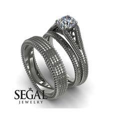 Bridal Set Engagement Ring Set Matching Wedding #jewelry #ring @EtsyMktgTool #bridalset #weddingband #matchingring #weddingbandset