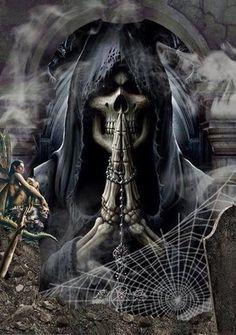 Death, I prey you actually come for my sole in person✌ Grim Reaper Art, Grim Reaper Tattoo, Don't Fear The Reaper, Dark Gothic, Gothic Art, Gothic Images, Dark Fantasy Art, Dark Art, Rock Poster