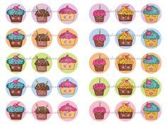30 % Rabatt SALE 2 glücklich Cupcakes Bottle Cap von primnshabbyme