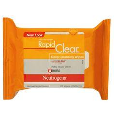 Lencinhos demaquilantes para limpeza profunda, da marca Neutrogena. Encontrado na maioria das farmácias.