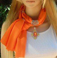 Necklace with a silk scarf Scarf Necklace, Scarf Jewelry, Fabric Jewelry, Ways To Wear A Scarf, How To Wear Scarves, Making Scarves, Neon Jewelry, Beaded Jewelry, Jewellery
