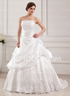 Wedding Dresses - $199.99 - Ball-Gown Strapless Sweep Train Taffeta Tulle Wedding Dress With Lace (002019536) http://jjshouse.com/Ball-Gown-Strapless-Sweep-Train-Taffeta-Tulle-Wedding-Dress-With-Lace-002019536-g19536