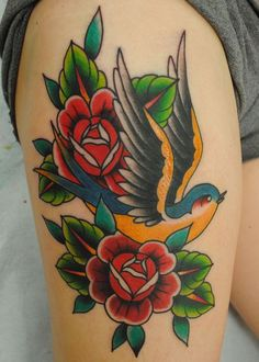 swallow roses tattoo - Google Search