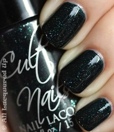 """cult nails """"living water"""" - blackened teal jelly with blue and green micro-glitter"""