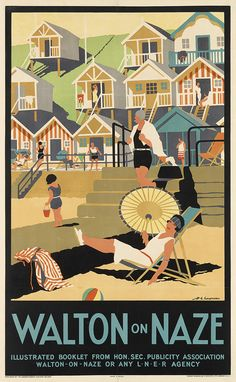 Walton on Naze Essex England Great Britain Vintage Travel Advertisement Poster Posters Uk, Train Posters, Railway Posters, Poster Ads, Advertising Poster, Vintage Travel Posters, Illustrations And Posters, Poster Prints, Modern Posters
